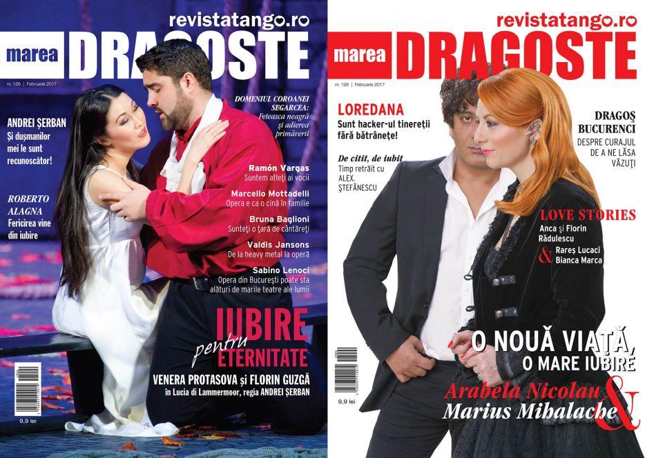 Venera Protasova (Lucia) si Florin Guzga (Edgardo), Arabela Nicolau si Marius Mihalache pe copertele Marea Dragoste-revistatango.ro, nr. 126, februarie 2017