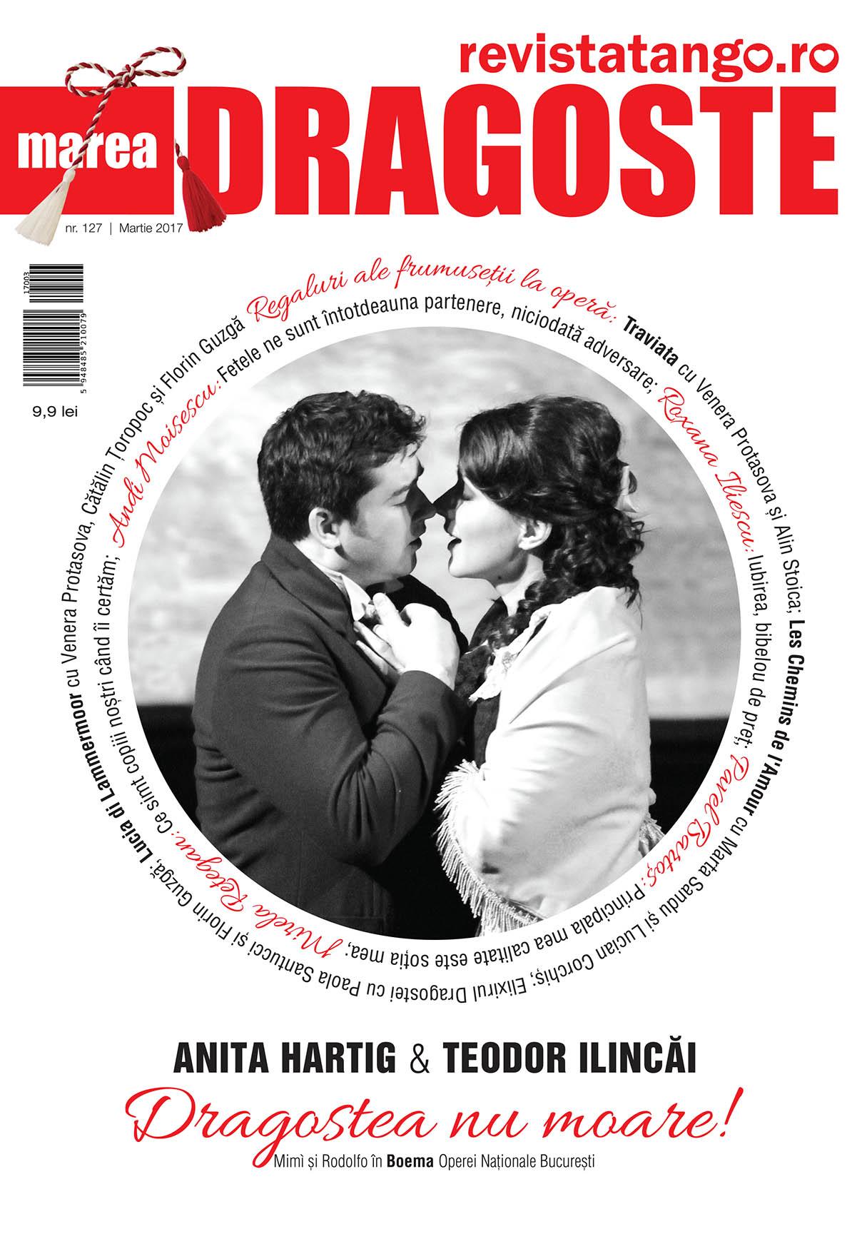 Anita Hartig (Mimi), Teodor Ilincai, Boema, pe coperta Marea Dragoste-revistatango.ro, nr. 127, martie 2017