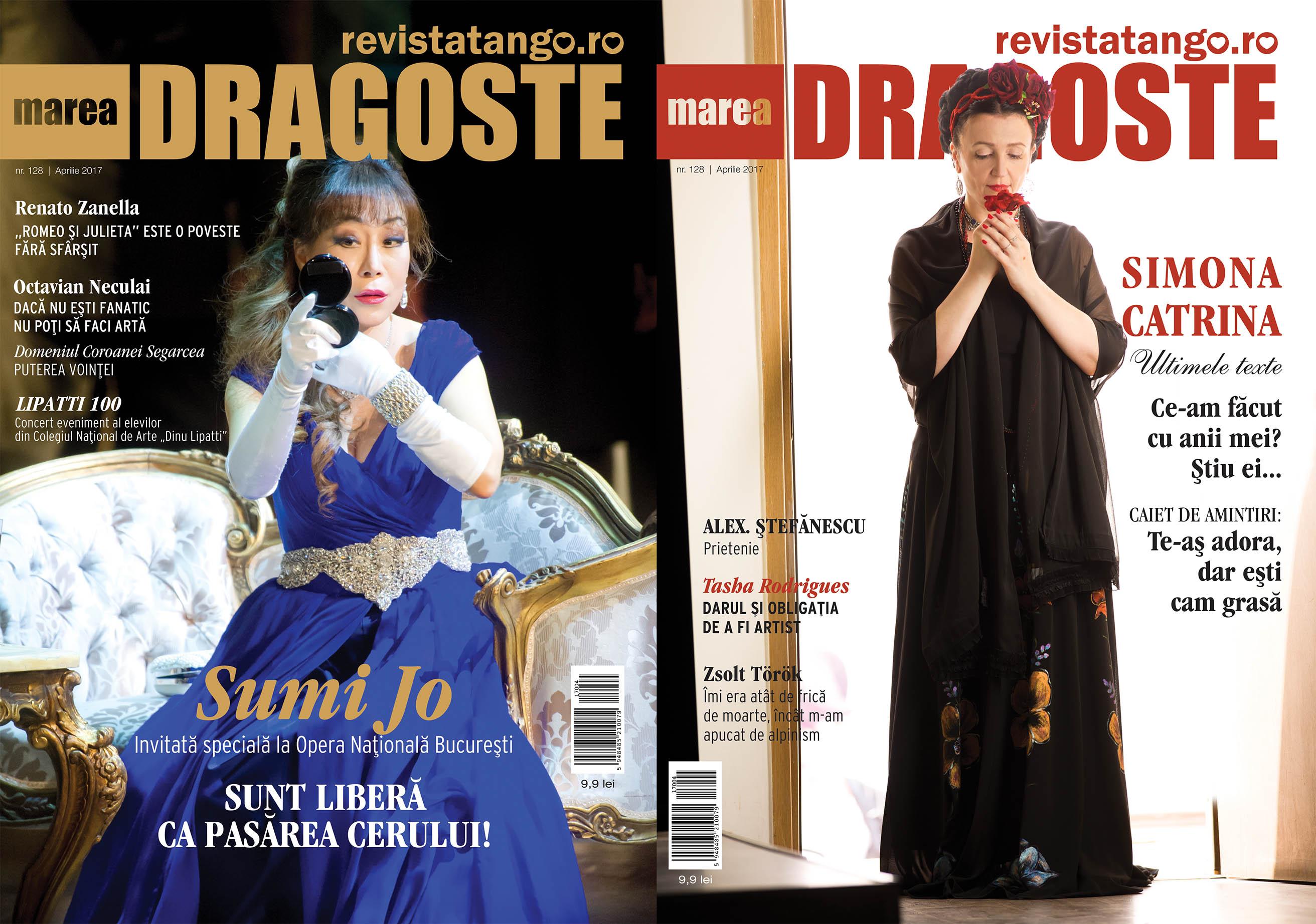 Sumi Jo si Simona Catrina pe copertele Marea Dragoste-revistatango.ro, nr. 128, aprilie 2017
