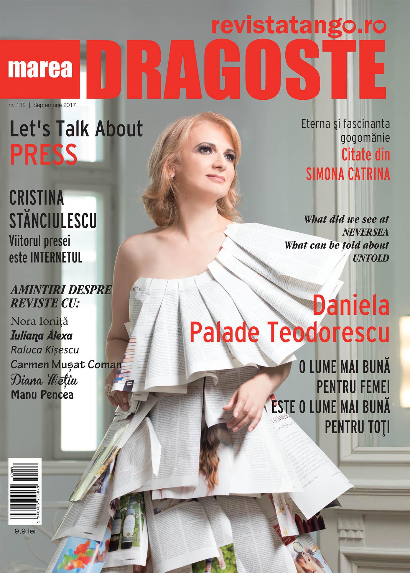 Daniela Palade Teodorescu pe coperta Marea Dragoste-revistatango.ro, nr. 132, septembrie 2017