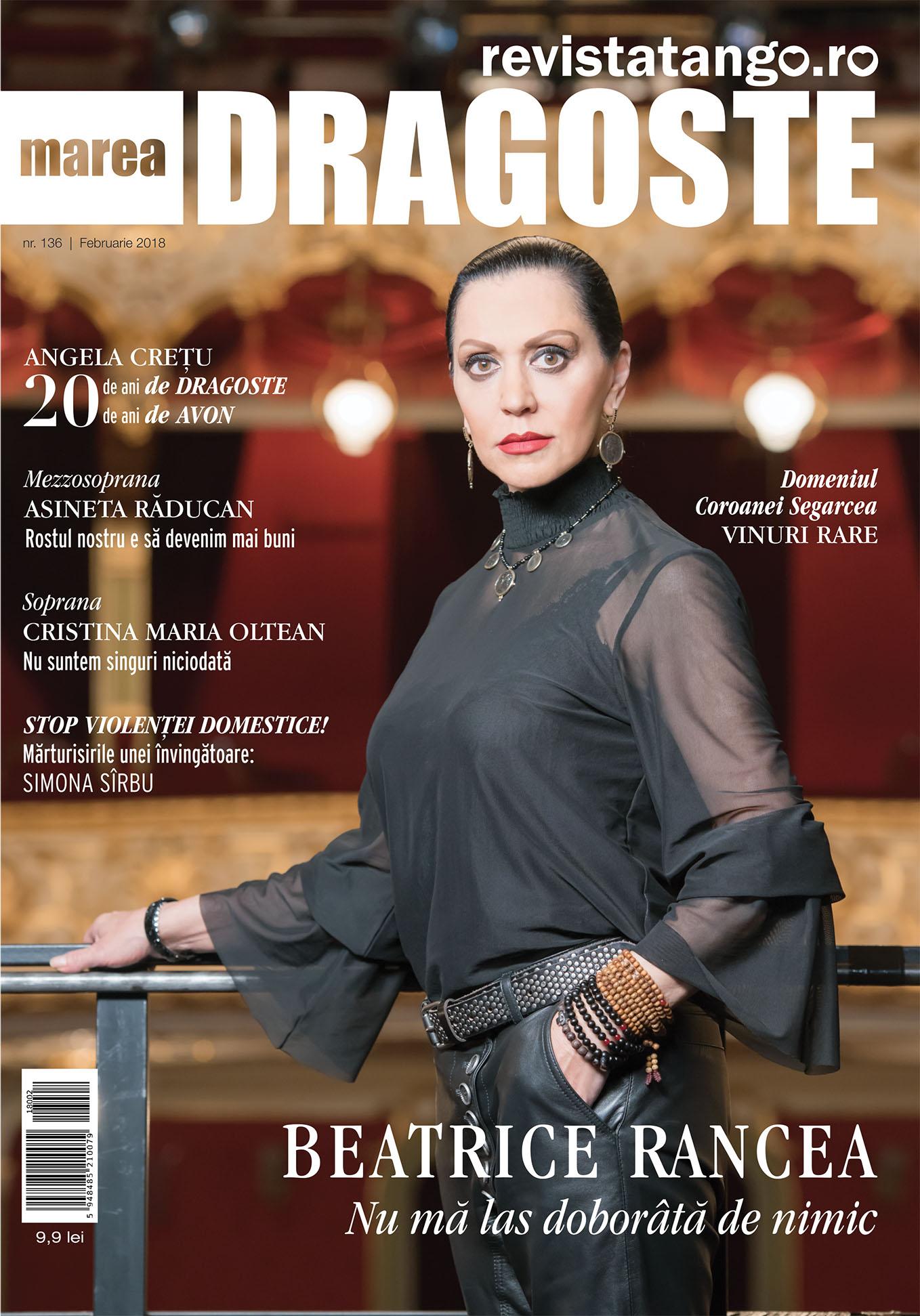 Beatrice Rancea pe coperta Marea Dragoste-revistatango.ro, nr. 136, februarie 2018