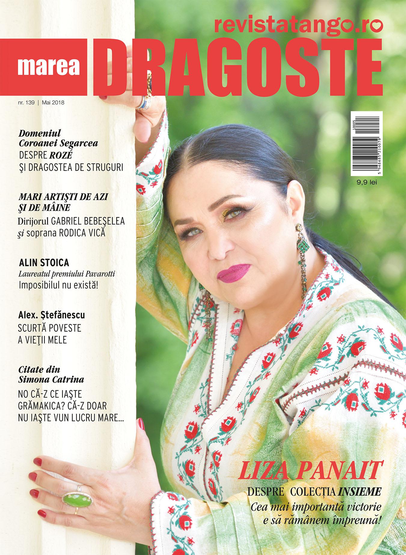 Liza Panait pe coperta Marea Dragoste-revistatango.ro, nr. 139, mai 2018