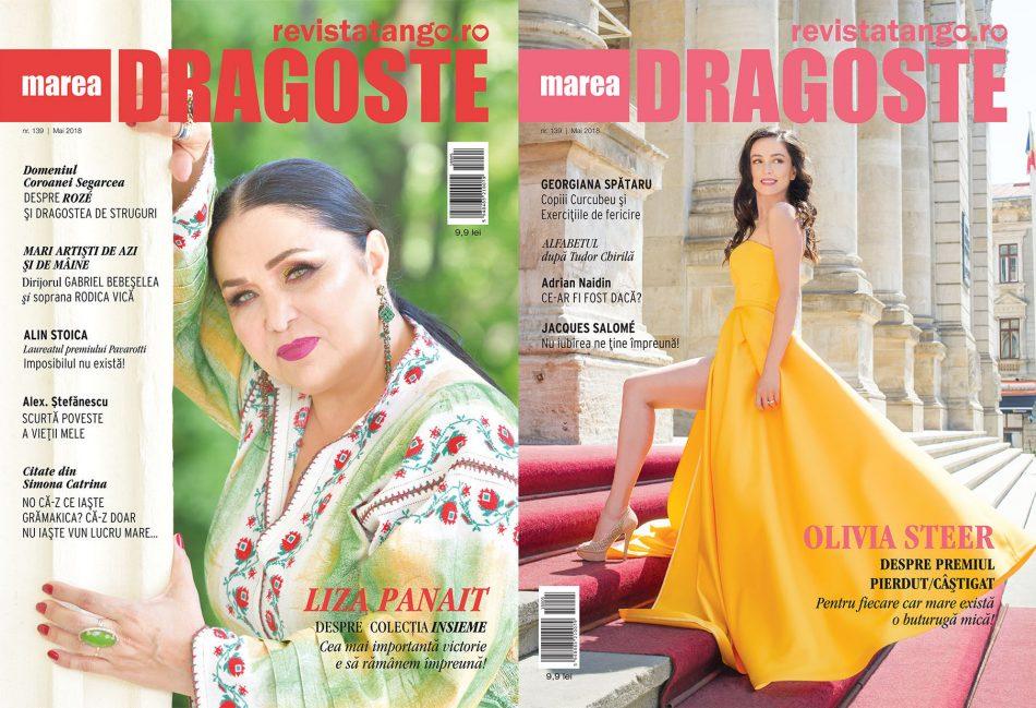 Liza Panait si Olivia Steer pe copertele Marea Dragoste-revistatango.ro, nr. 139, mai 2018